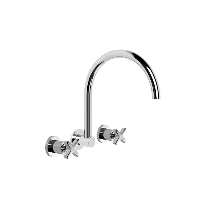 City Que Wall Set with Swivel Spout (Chrome)