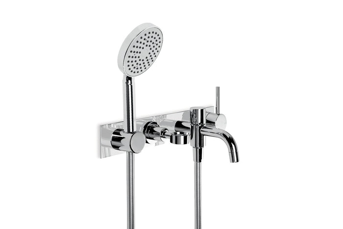 City Stik Wall Mixer with Diverter Spout, Round Hand Shower, Backplate and Soap Holder (Chrome)
