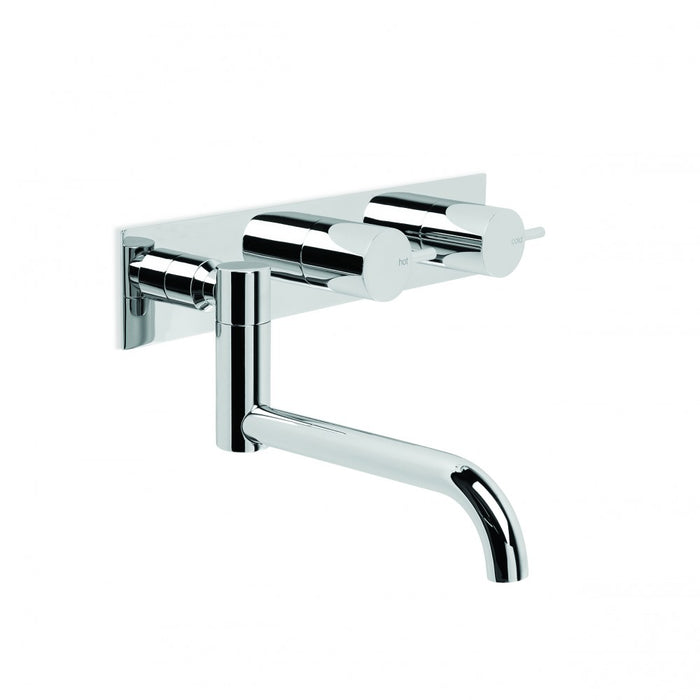 City Stik Wall Set with 210mm Double Swivel Spout, Backplate and Installation Kit (Chrome) (Flow Control)