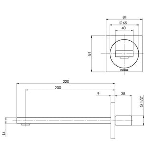 Ortho Wall Basin/Bath Outlet 200mm (Line Drawing)