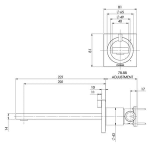 Ortho Wall Basin/Bath Mixer Set 200mm (Line Drawing)