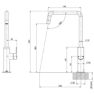 Phoenix Mekko Sink Mixer 190mm Squareline (Line Drawing)