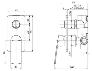 Teel Shower/Bath Diverter Mixer (Line Drawing)