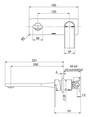 Teel Wall Basin/Bath Mixer Set 200mm (Line Drawing)