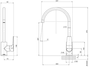 Arlo Sink Mixer 20mm Gooseneck (Matte Black) (Line Drawing)