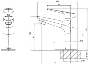 Arlo Basin Mixer (Matte Black) (Line Drawing)