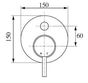 Isabella Shower/Bath Wall Diverter Diagram