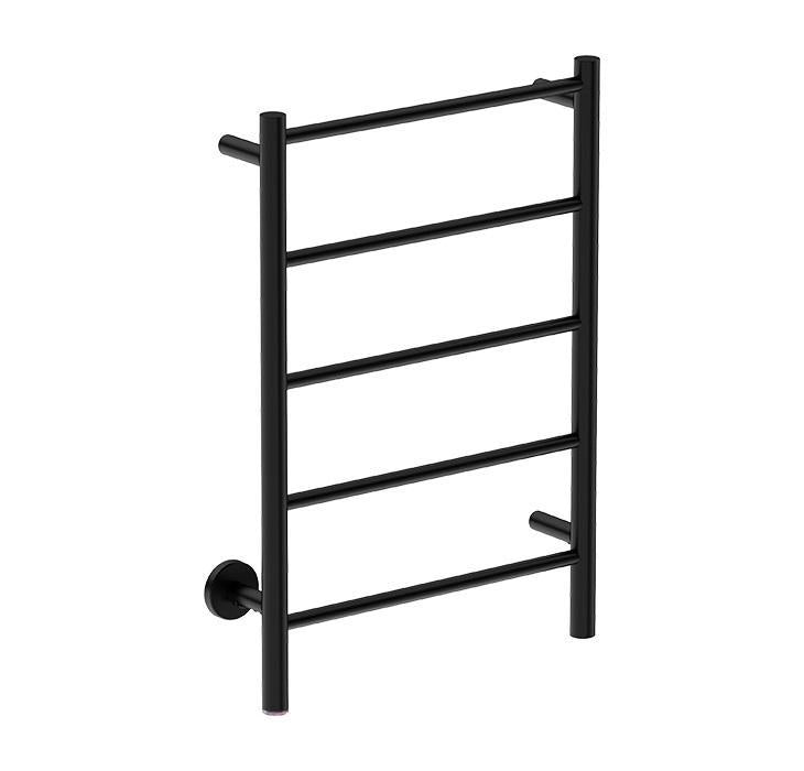 Natural 5 Bar 500 Straight Heated Towel Rail (Matte Black)