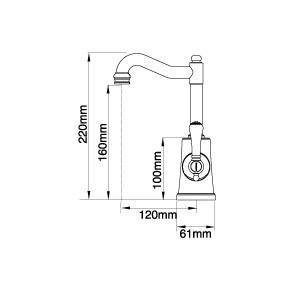 Bastow Georgian English Basin Mixer 35mm (Line Drawing)