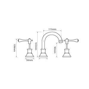 Bastow Victorian Lever Basin Set (Line Drawing)