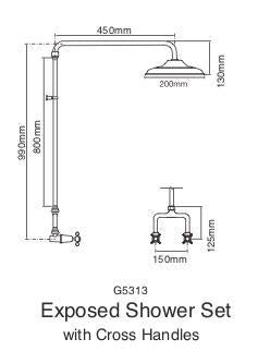 Bastow Georgian Exposed Shower Set 200mm Rose (Line Drawing)