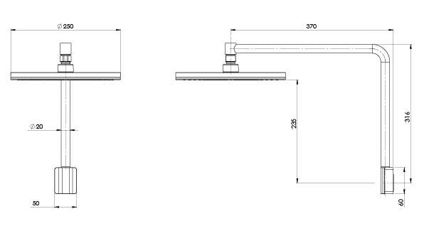 NX VIVE SHOWER ARM & ROSE (Line Drawing)