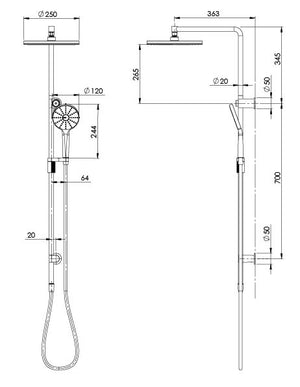NX VIVE TWIN SHOWER (Line Drawing)