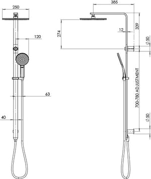 NX QUIL TWIN SHOWER (Line Drawing)