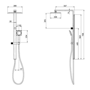 NX Orli Twin Shower with Hydrosense (Line Drawing)