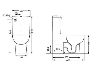 Streamline Kyo Wall Faced Close Coupled Toilet Suite Diagram