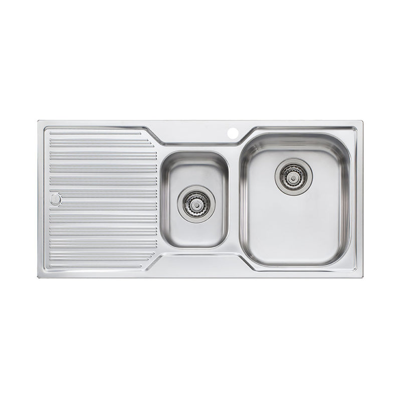 Oliveri Diaz 1 And 1/2 Bowl Topmount Sink with Drainer DZ102 1TH