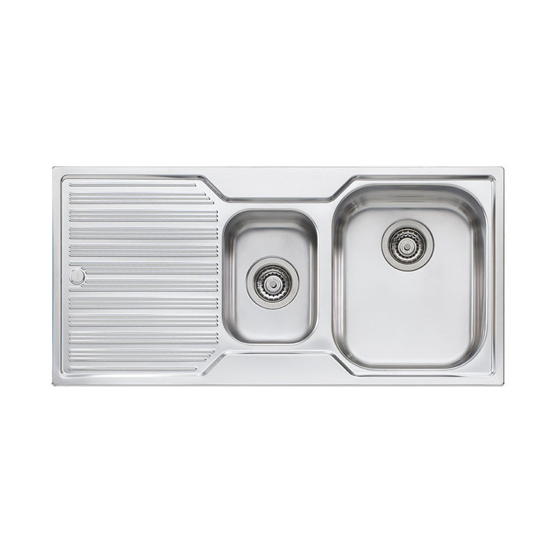 Oliveri Diaz 1 And 1/2 Bowl Topmount Sink with Drainer DZ102 NTH
