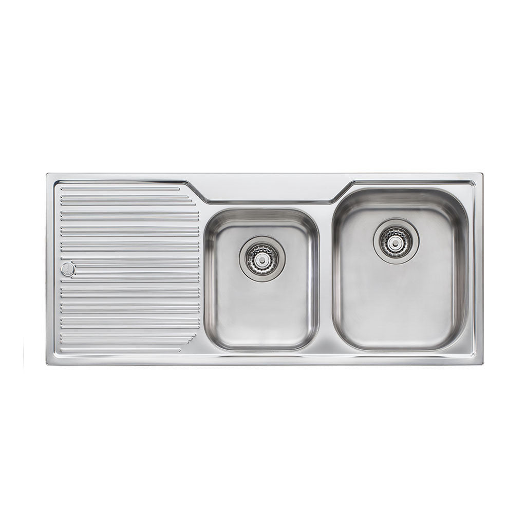 Oliveri Diaz 1 And 3/4 Bowl Topmount Sink with Drainer DZ112 NTH