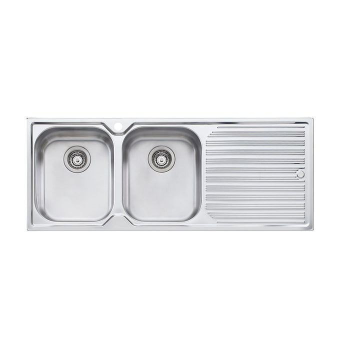 Diaz Double Bowl Topmount Sink with Drainer 1TH