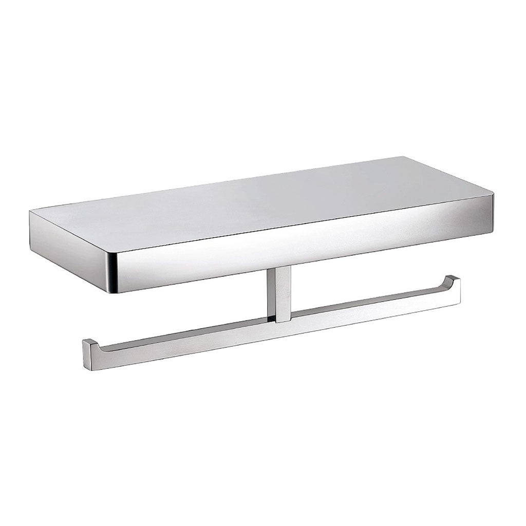 Streamline Eneo Double Toilet Roll Holder with Shelf Chrome