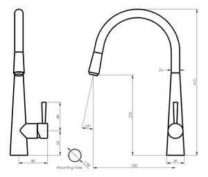 ZEON Galiano Pull Down Sink Mixer Dual Function (Line Drawing)