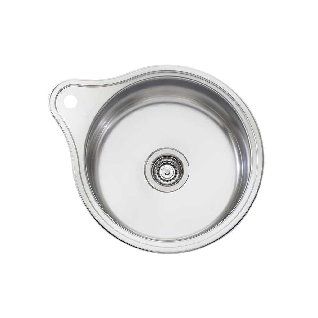 Oliveri Solitaire Round Bowl Topmount Sink with Tap Landing LR515 1TH