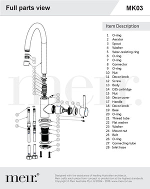 Round Kitchen Mixer full Parts View