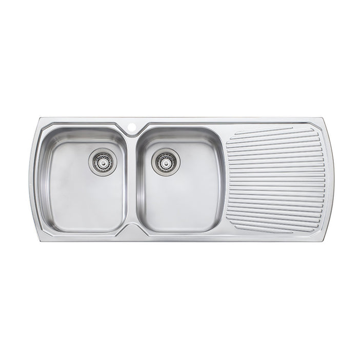 Monet Double Bowl Topmount Sink with Drainer