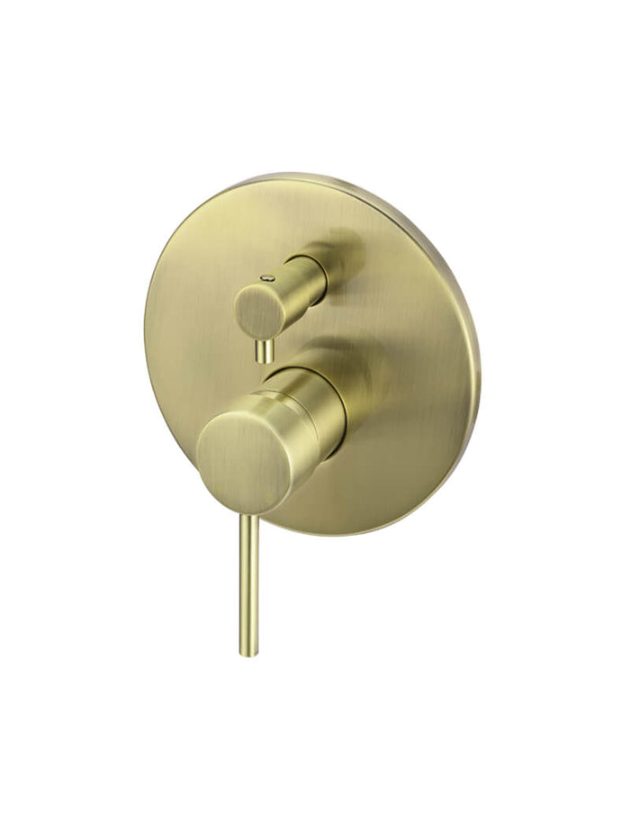 Meir Round Tiger Bronze Wall Mixer with Diverter and Round Plate