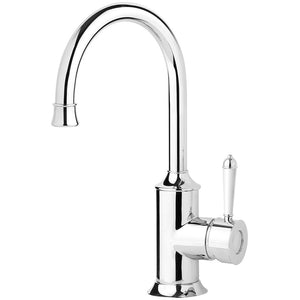 Phoenix Tapware Nostalgia Sink Mixer 160mm Gooseneck  (Chrome & White) NS730-62