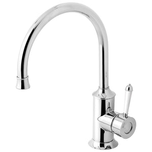 Phoenix Tapware Nostalgia Sink Mixer 220mm Gooseneck (Chrome & White) NS733-62