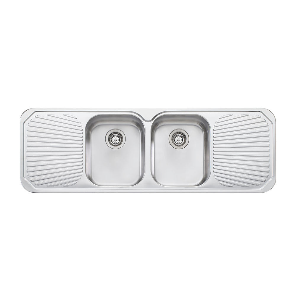Oliveri Petite Double Bowl Topmount Sink with Double Drainer PE353 ...