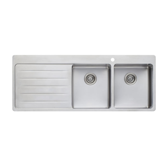 Sonetto Double Bowl Topmount Sink with Drainer