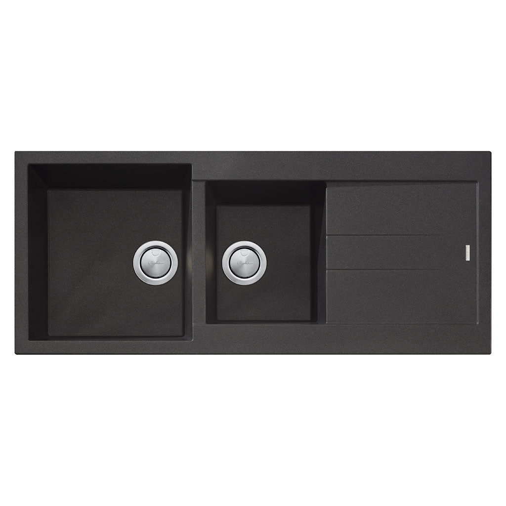 Oliveri Santorini Black 1 & 3/4 Bowl Topmount Sink with Drainer ST-BL1510