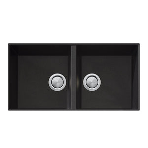 Oliveri Santorini Black Double Bowl Undermount Sink ST-BL1563U