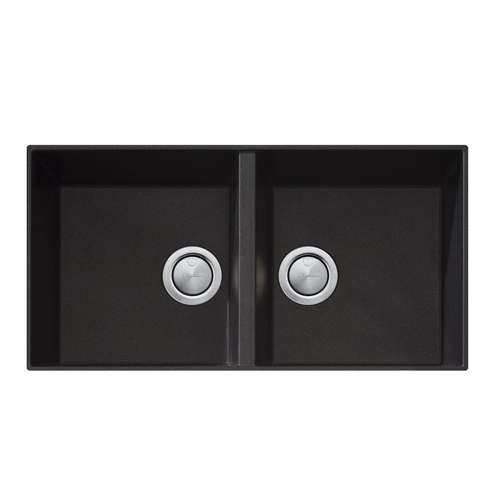 Santorini Black Double Bowl Undermount Sink