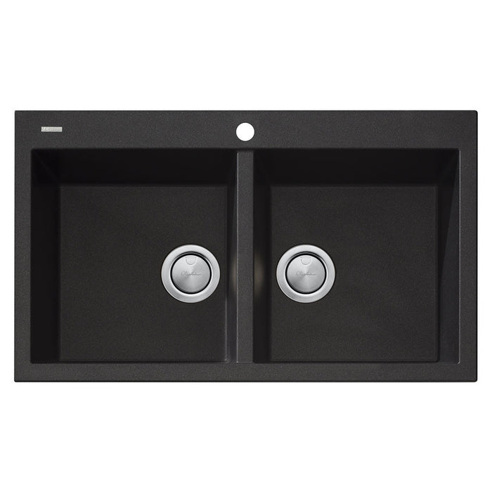 Santorini Black Double Bowl Topmount Sink
