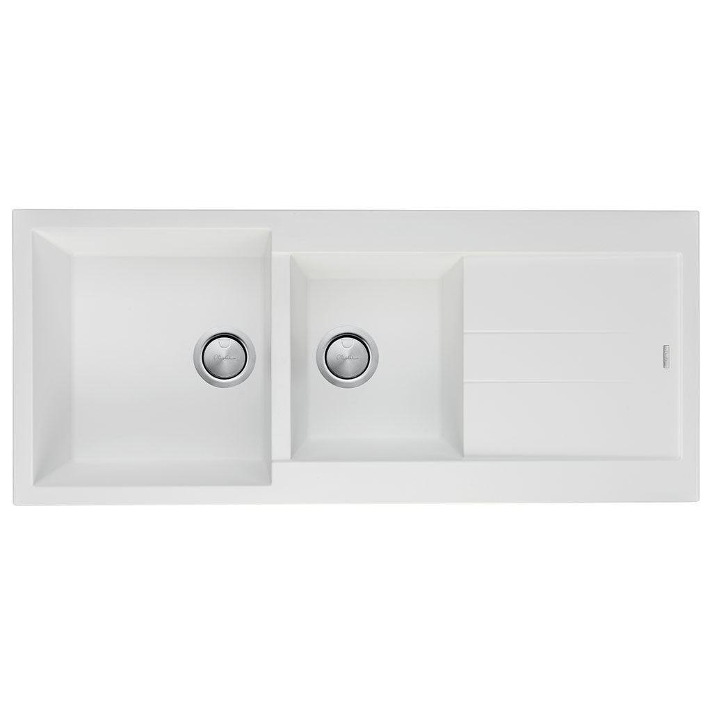 Oliveri Santorini White 1 U0026 3/4 Bowl Topmount Sink With Drainer ST WH1510