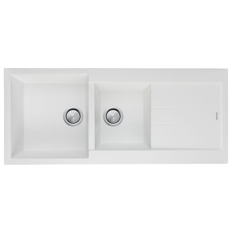Oliveri Santorini White 1 & 3/4 Bowl Topmount Sink with Drainer ST-WH1510