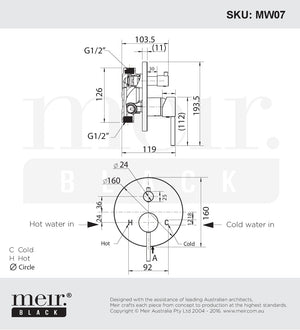 Meir Round Wall Mixer with Diverter and Round Plate Line Drawing