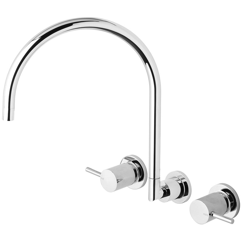 Phoenix Tapware Vivid Pin Lever Wall Sink Set Gooseneck (Chrome) VP810CHR