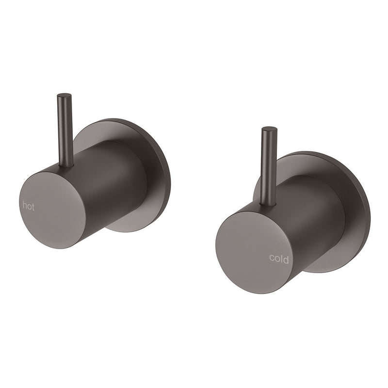 Phoenix Tapware Vivid Slimline Wall Top Assemblies 15mm Extended Spindles (Gun Metal) VS067GM