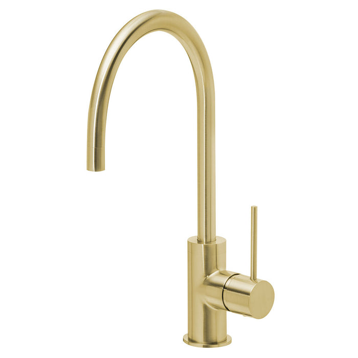 Vivid Slimline Side Lever Sink Mixer 220mm Gooseneck (Brushed Gold)