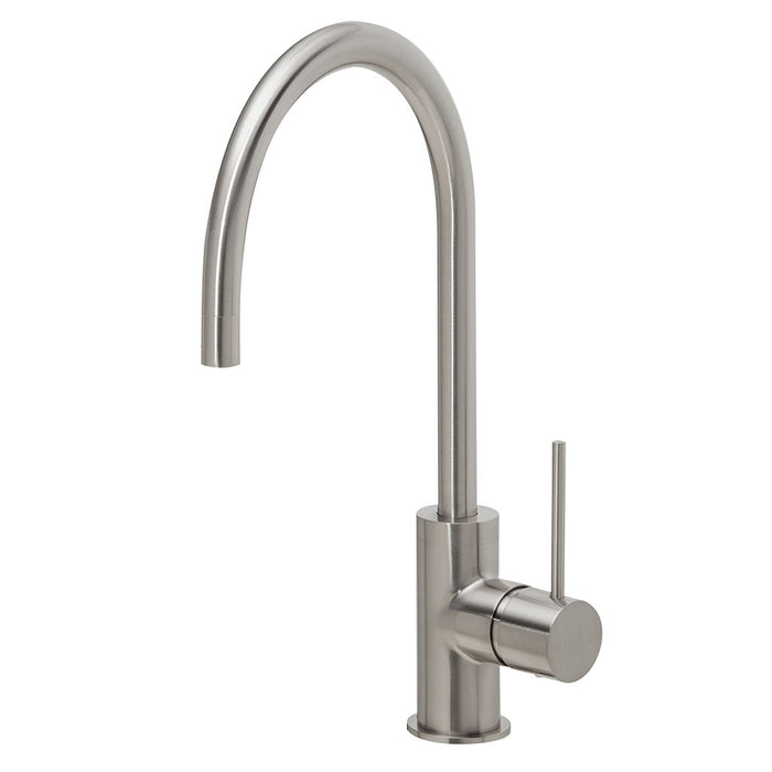 Vivid Slimline Side Lever Sink Mixer 220mm Gooseneck (Brushed Nickel)