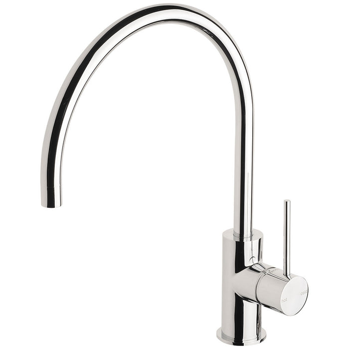 Vivid Slimline Side Lever Sink Mixer 220mm Gooseneck (Chrome)