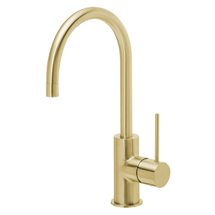 Vivid Slimline Side Lever Sink Mixer 160mm Gooseneck (Brushed Gold)
