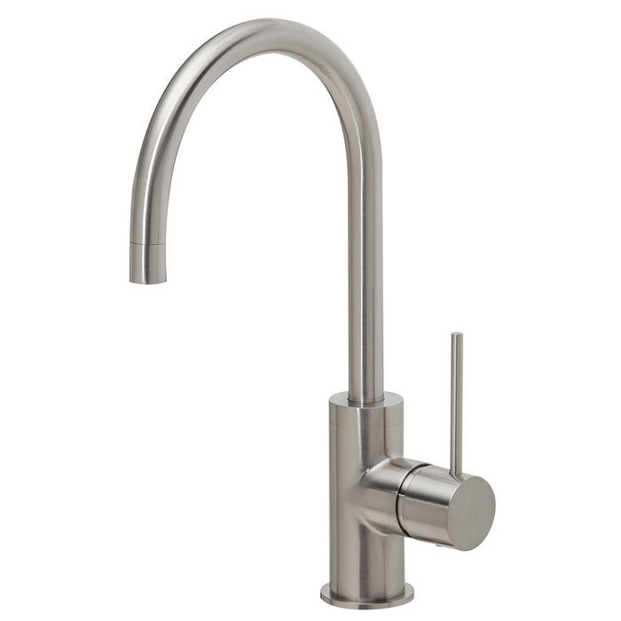 Vivid Slimline Side Lever Sink Mixer 160mm Gooseneck (Brushed Nickel)