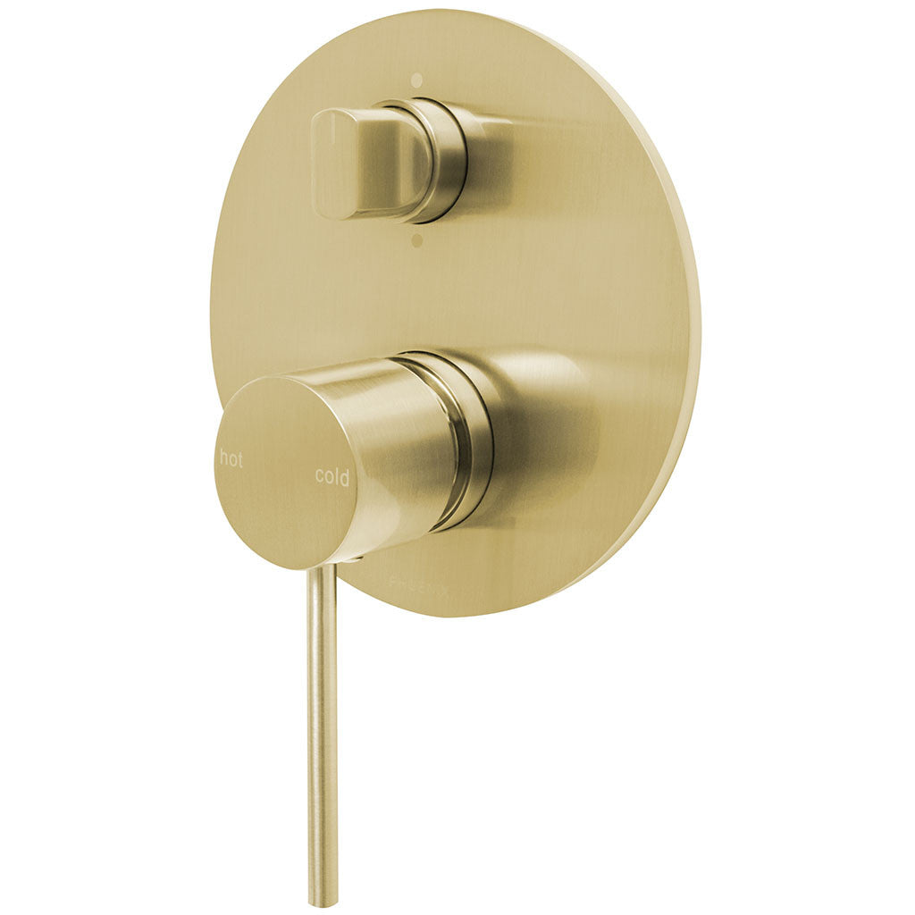 Phoenix Tapware Vivid Slimline Shower / Bath Diverter Mixer (Brushed Gold) VS791-12