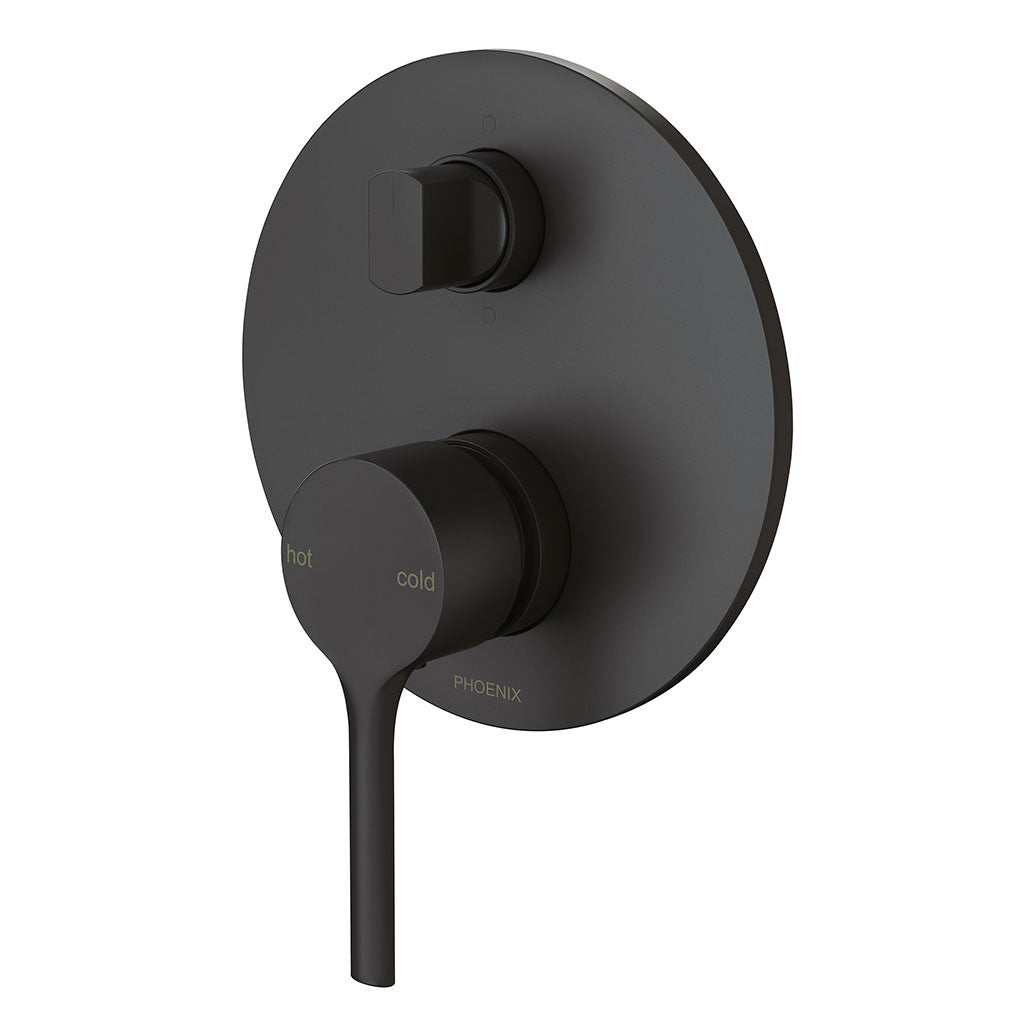 Phoenix Tapware Vivid Slimline Oval Shower / Bath Diverter Mixer (Matte Black) VV791MB